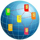 pic of micro-sim  - Vector illustration of Globe with sim cards - JPG