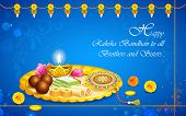 picture of rakhi  - illustration of decorated thali with rakhi for raksha bandhan - JPG