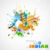 picture of ashok  - illustration of India background with monument and culture - JPG