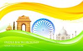 picture of indian flag  - illustration of wavy Indian flag with monument - JPG