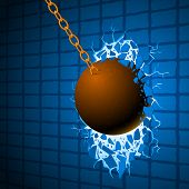 stock photo of ball chain  - The Wrecking ball breaks a blue wall and releases a way to freedom - JPG