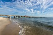 stock photo of virginia  - A view of the Chesapeake Bay Bridge taken from the Virginia Beach side in an area known as Chick - JPG