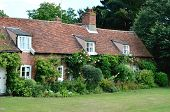 picture of english cottage garden  - Row of traditional rural English Country cottages - JPG