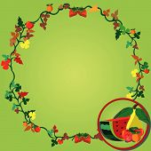 foto of tangelo  - Vector illustration of a wreath and fruits on the right corner - JPG