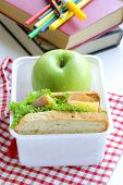 stock photo of lunch box  - sandwich with ham - JPG