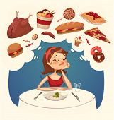 stock photo of chocolate muffin  - Girl on a diet - JPG