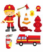 picture of fireman  - a fireman and many of it - JPG