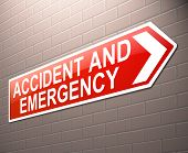 stock photo of triage  - Illustration depicting a sign directing to Accident and Emergency - JPG