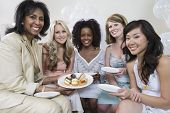 pic of bridal shower  - Portrait of a woman celebrating bridal shower with multiethnic friends - JPG