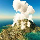 picture of volcanic  - Volcanic eruption on island - JPG