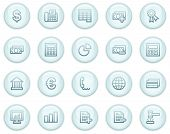 image of cash register  - Vector icons light blue circle buttons series - JPG