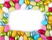 stock photo of easter candy  - Colorful Easter Eggs frame with White Background - JPG