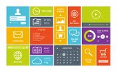 stock photo of squares  - Modern colorful user interface vector layout in flat design with simple square forms buttons widgets and navigation icons - JPG