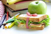 stock photo of school lunch  - sandwich with ham - JPG
