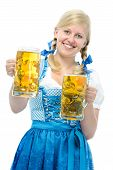 picture of stein  - Smiling woman with dirndl holds Oktoberfest beer steins - JPG
