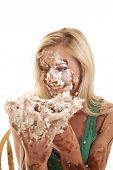 stock photo of pie-in-face  - A woman has pie all over her face and is very messy - JPG