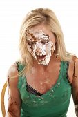 picture of pie-in-face  - A woman has pie all over her face and is very messy - JPG