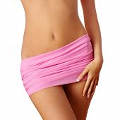 pic of body fat  - slim woman body on white background - JPG