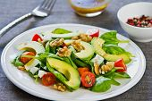 image of walnut  - Avocado with Spinach Feta and Walnut salad - JPG