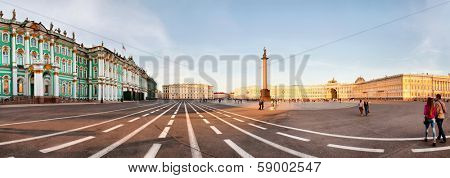 ST. PETERSBURG, RUSSIA - AUGUST 29: The Alexander Column at Palace Square in St. Petersburg, Russia on August 29, 2013. The monument was erected after the Russian victory in the war with Napoleon