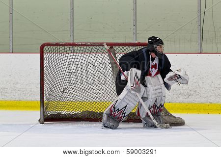 Ice Hockey Goalie Ready To Make A Save