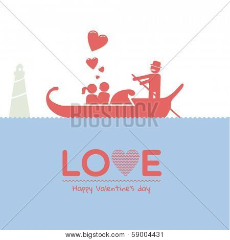 Valentine day greeting card - couple in love sitting in italian boat (gondola), creative lovely illustration background