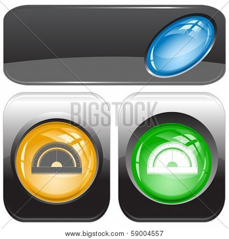 Protractor. Internet buttons. Raster illustration. Vector version is in my portfolio.