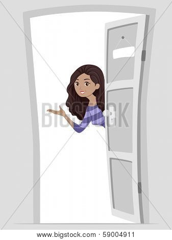 Illustration of a Girl Welcoming People into Her Home