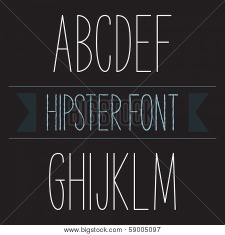 Modern minimal hipster font alphabet; Sans-serif elegant light font, vector alphabet letters design.  Regular, normal version