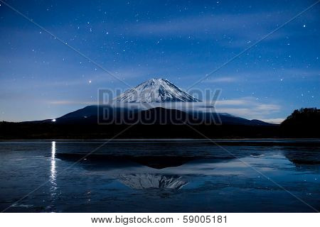 Inverted image of Mt.Fuji on the frozen lake