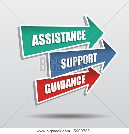 Assistance, Support, Guidance In Arrows, Flat Design