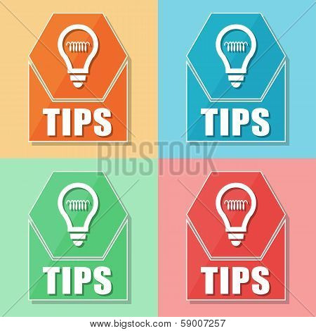 Tips And Bulb Symbol, Four Colors Web Icons