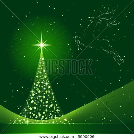 Verde Resumen Antecedentes de Navidad con el árbol de Navidad y Reno