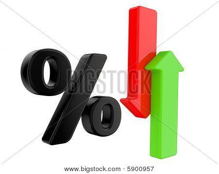 Percent Symbol  And Arrows