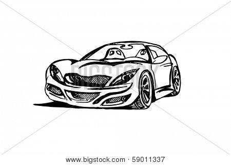 Sketch Illustration of dream car