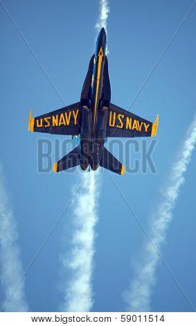 MCAS MIRAMAR, CA - OCTOBER 3: Blue Angels squadron in flight during an Air Show October 3, 2009 in MCAS Miramar, CA