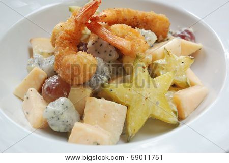 Fried prawn fruits salad with Asian fruit
