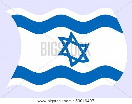 Vector illustration of Israel flag waving in the wind
