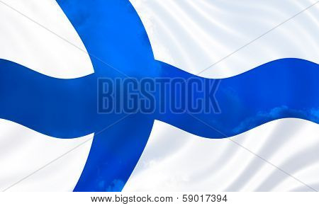 Illustration of Finland flag over sky, waving in the wind