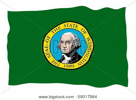 Vector Illustration of Washington state flag waving in the wind