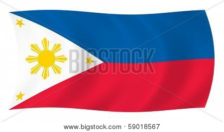 Illustration of  Philippines flag waving in the wind