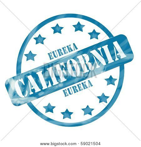 Blue Weathered California Stamp Circle And Stars