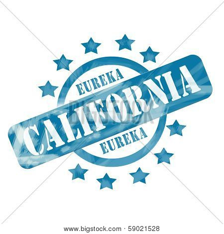 Blue Weathered California Stamp Circle And Stars Design
