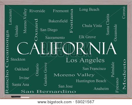 California State Word Cloud Concept On A Blackboard