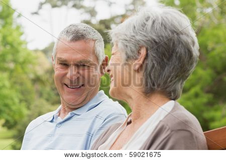 Close-up of a happy senior man and woman looking at each other at the park