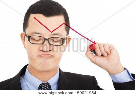 Businessman Draw Red  Arrow Down And Feel Disappoint