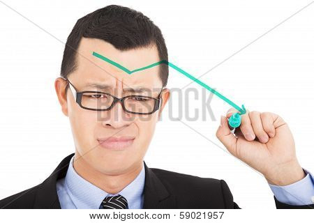 Businessman Draw Green  Arrow Down And Feel Sadness