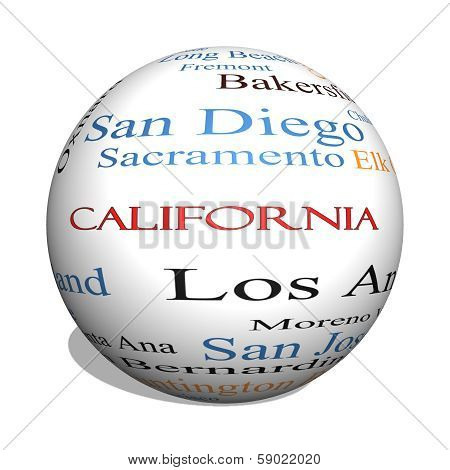 California State 3D Sphere Word Cloud Concept