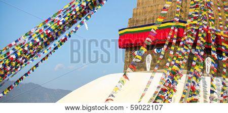 Bodhnath Stupa with Buddha Eyes in Kathmandu.