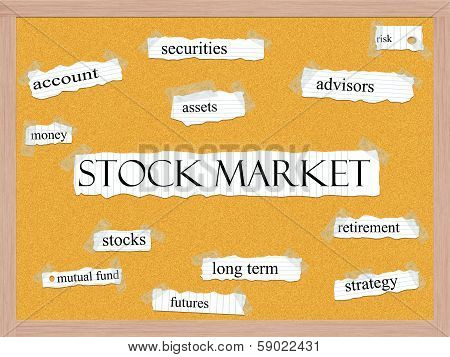 Stock Market Corkboard Word Concept